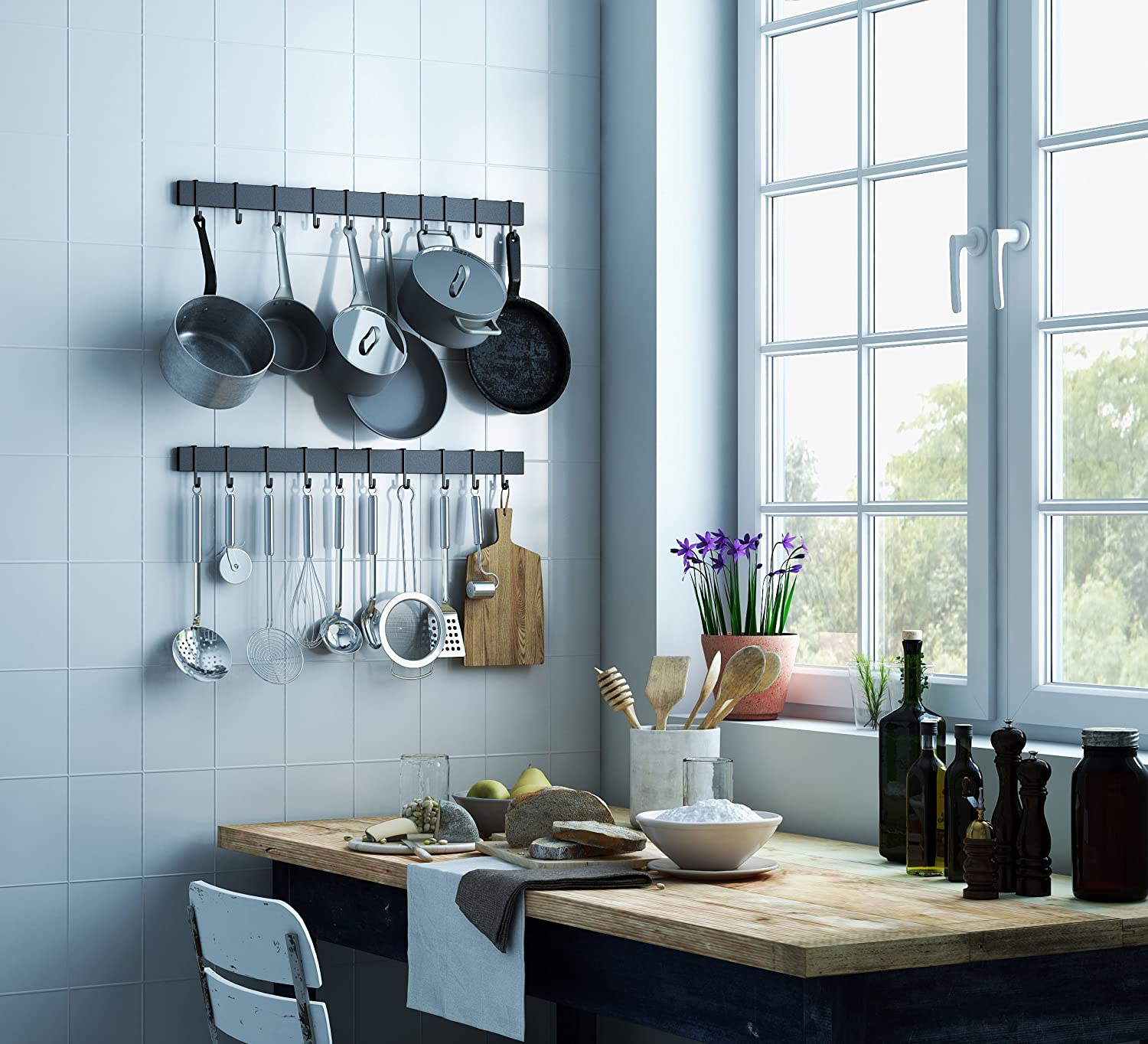 Amazon.com: WALLNITURE Kitchen Rail Organizer Iron Hanging Utensils ...