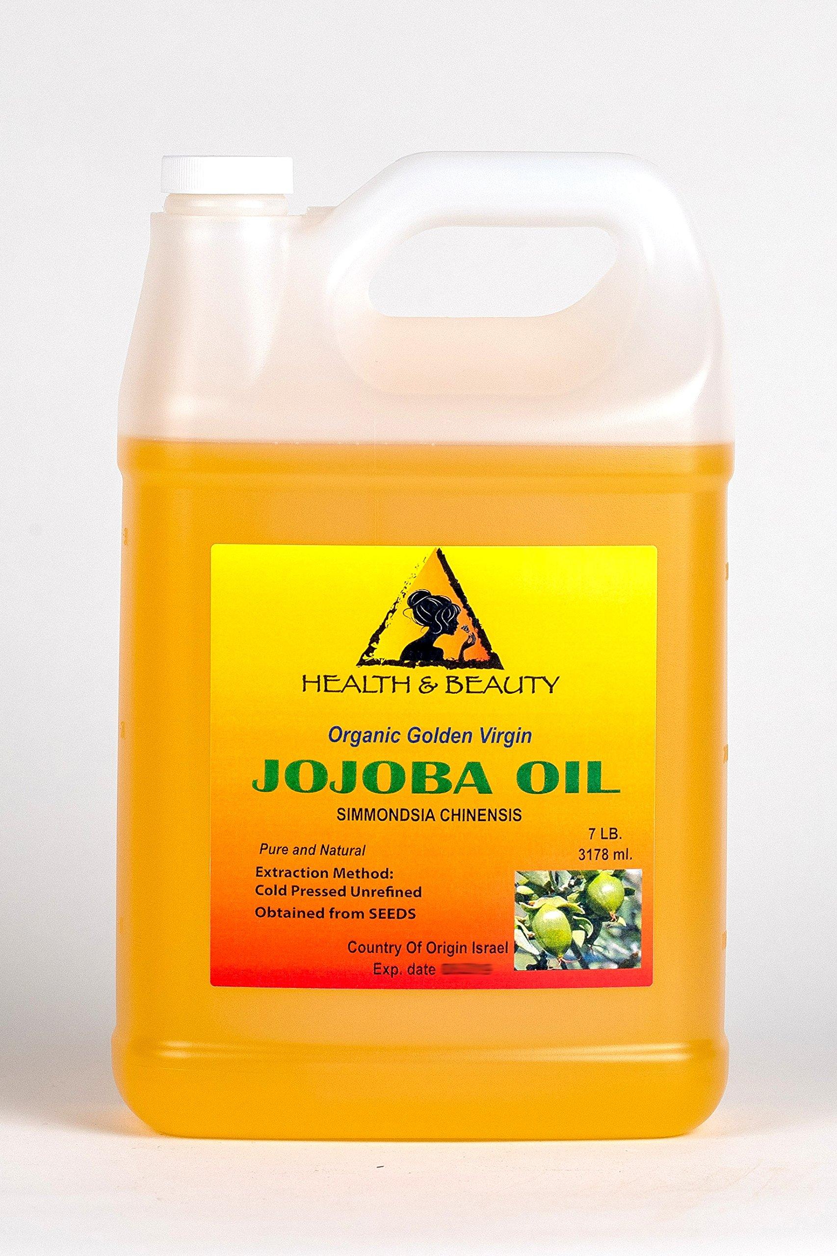 Jojoba Oil Golden Organic Carrier Unrefined Raw Virgin Cold Pressed Pure 128 oz, 7 LB, 1 gal