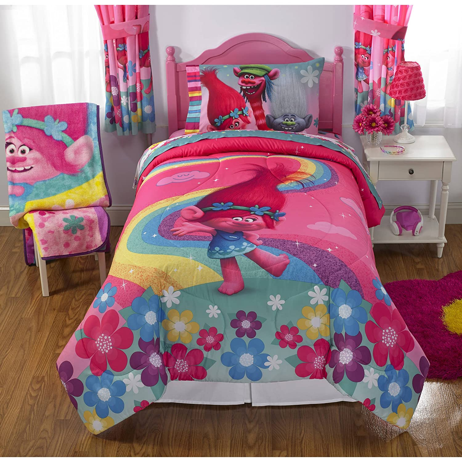 1 Piece Girls Pink Trolls Comforter Twin Full, Kids Princess Poppy Dancing Bedding Show Me A Smile Blue Yellow Rainbow Flower Cute Branch Guy Diamond Copper Dreamworks Fantasy Adventure Animated Film