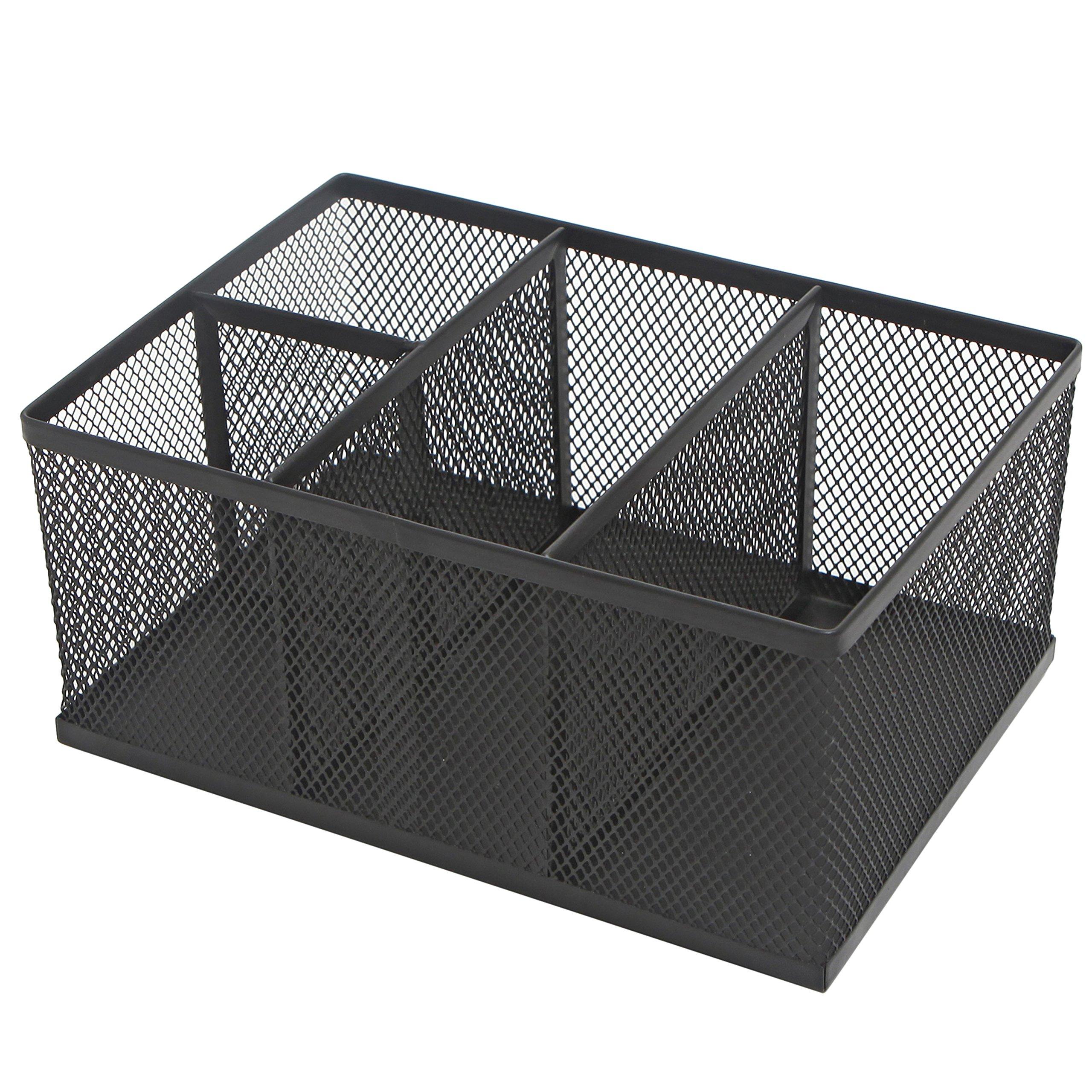Modern Rectangular Black Metal Mesh 4 Compartment Office Supplies Storage Organizer Caddy Rack - MyGift