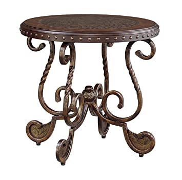 Sensational Ashley Furniture Signature Design Rafferty End Table Round Vintage Brown Home Interior And Landscaping Eliaenasavecom