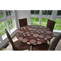 "(Lg Round Elastic, Medallion) - Elastic Edged Flannel Backed Vinyl Fitted Table Cover - MEDALLION Pattern - Large Round - Fits tables up to 110cm - 56"" Diameter"