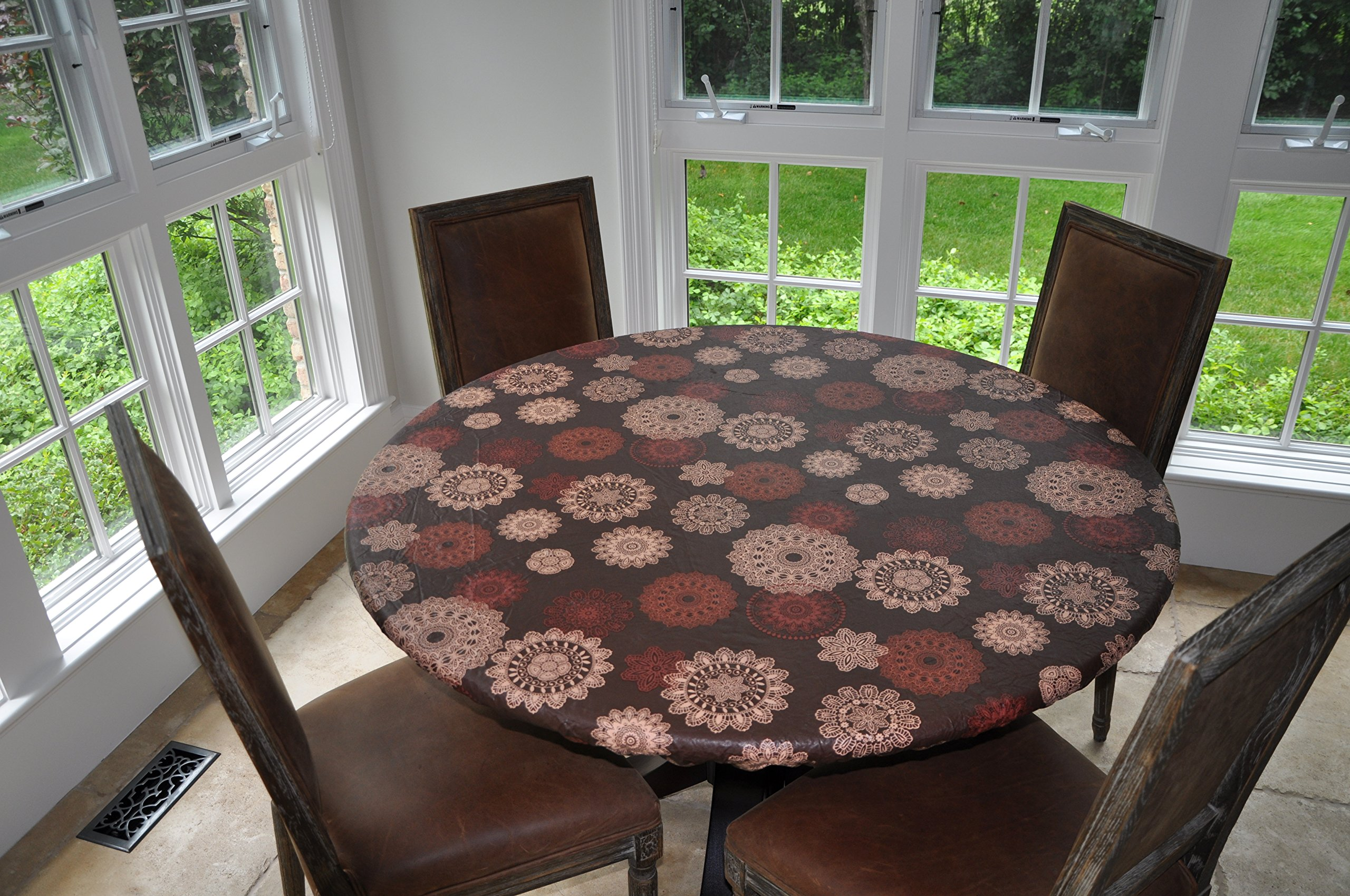 "Elastic Edged Flannel Backed Vinyl Fitted Table Cover - Medallion Pattern - Large Round - Fits Tables up to 45'' - 56"" Diameter"