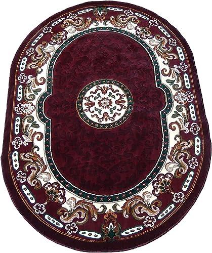 KJGRUG Persian Medallion Oval Woven 5×8 Area Rug Burgundy Actual Size 5 2 x 7 2