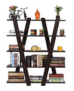 DeckUp Alvo Engineered Wood Book Shelf/Display Unit (Dark Wenge, Matte Finish)