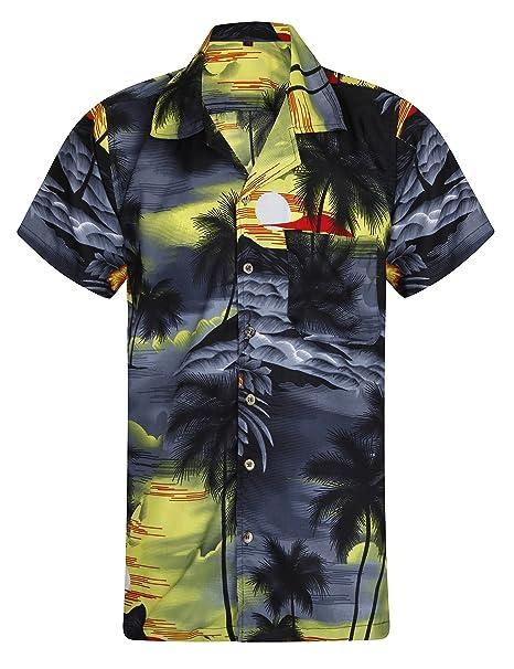 Very Loud Fancy Funky Hawaiian Men´s Shirt Parrot Chest Print Green