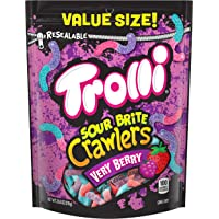 Trolli Sour Brite Crawlers Very Berry, Resealable Bag Sour Gummy Worms, 28.8 Ounce
