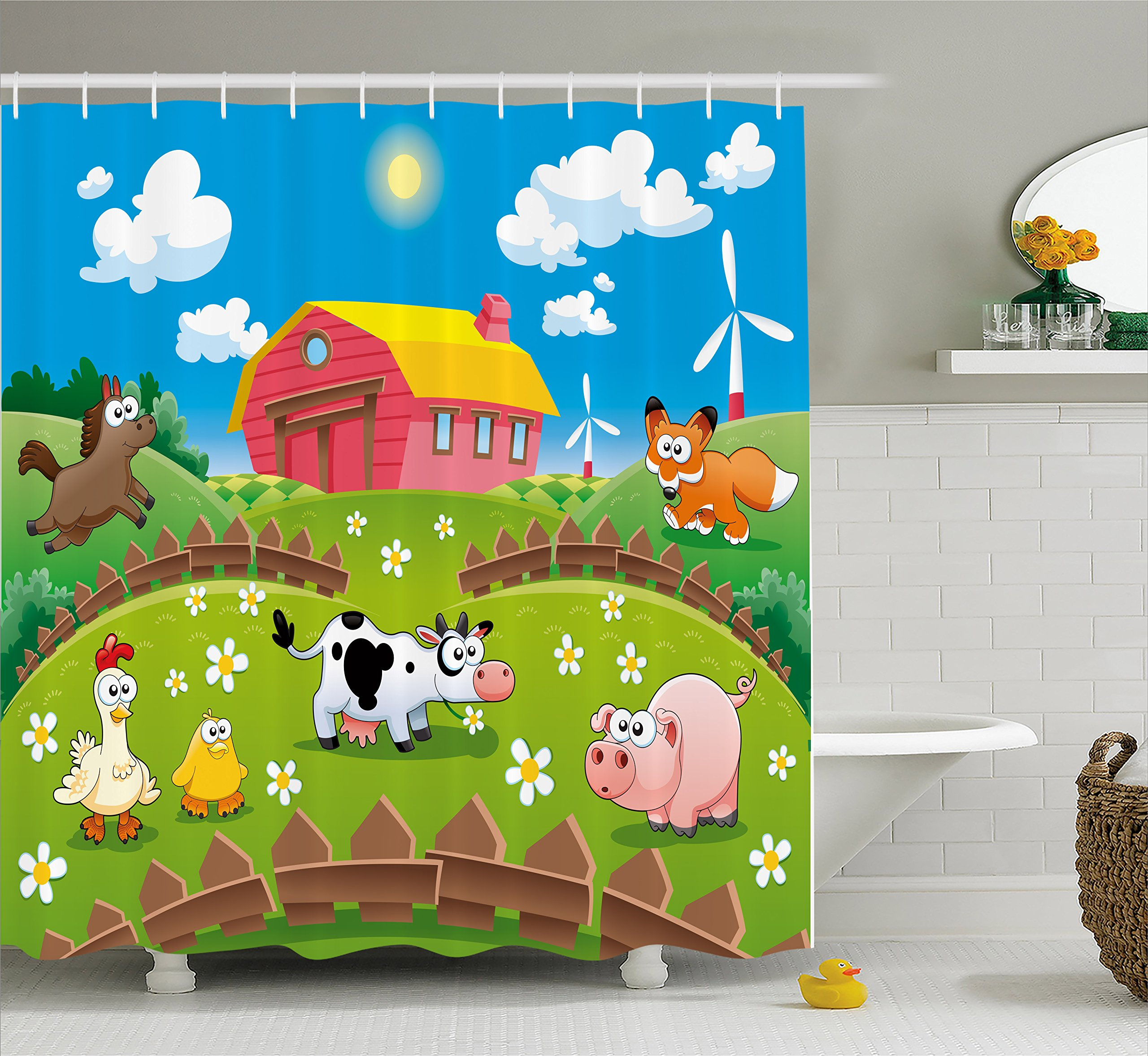 Ambesonne Cartoon Shower Curtain by, Farm with Cow Fox Chicken Pig Horse in the Fences Countryside Rural Children Design, Fabric Bathroom Decor Set with Hooks, 70 Inches, Multicolor