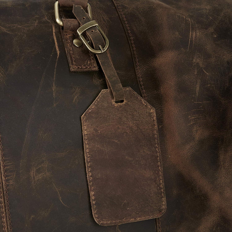 Leather Travel Luggage Bag Mens Duffle Retro Carry on Handbag