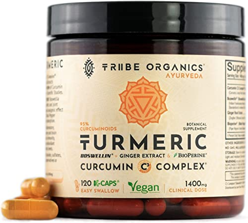 Turmeric Curcumin C3 Complex -120 Vegan Capsules – 95 Curcuminoids – with Boswellia, Ginger Bioperine Black Pepper Absorption Enhancer – Mood Support Inflammation Joint Health