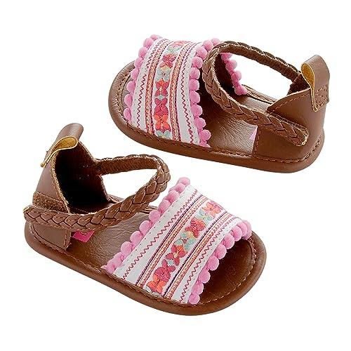 f13adab2c3ece Carter's Baby Girl Crib Shoe, Sandal, Multi-Color/Embroidered, Newborn