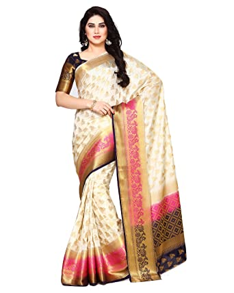 28e7d529fa MIMOSA Art Silk Saree With Blouse Piece(4133-266-3D-Hwt_Off White Free  Size): Amazon.in: Clothing & Accessories