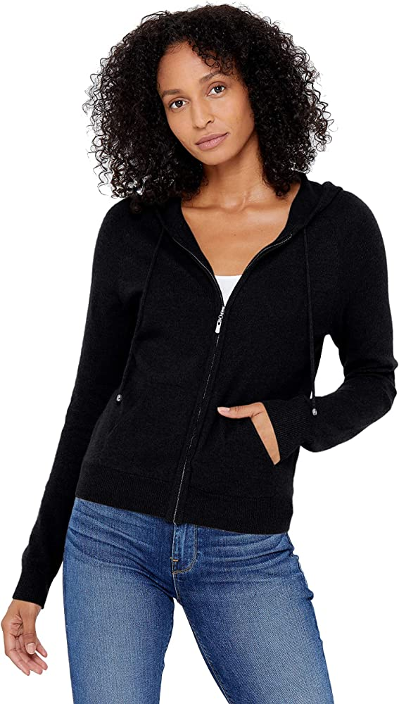 Women's Zip Up Hoodie Front Pocket 100% Pure Cashmere Long Sleeve Sweater Full Zipper