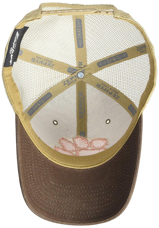 Brown NCAA Zephyr Clemson Tigers Mens Mesa Waxed Cotton Trucker Hat Adjustable