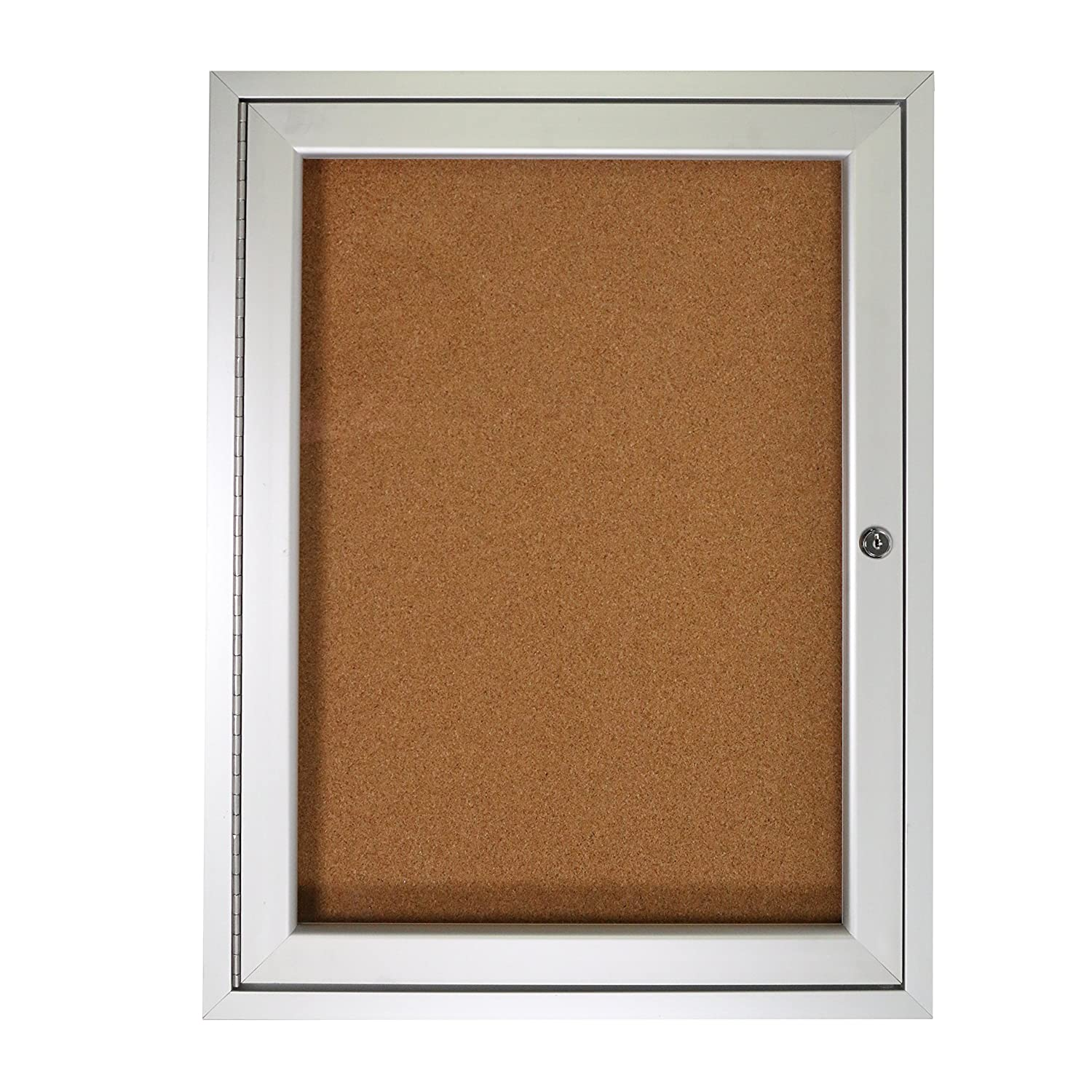 1 Door Enclosed Vinyl Bulletin Board Size: 24 x 18, Frame: Satin Aluminum, Backing: Standard Ghent PA12418K