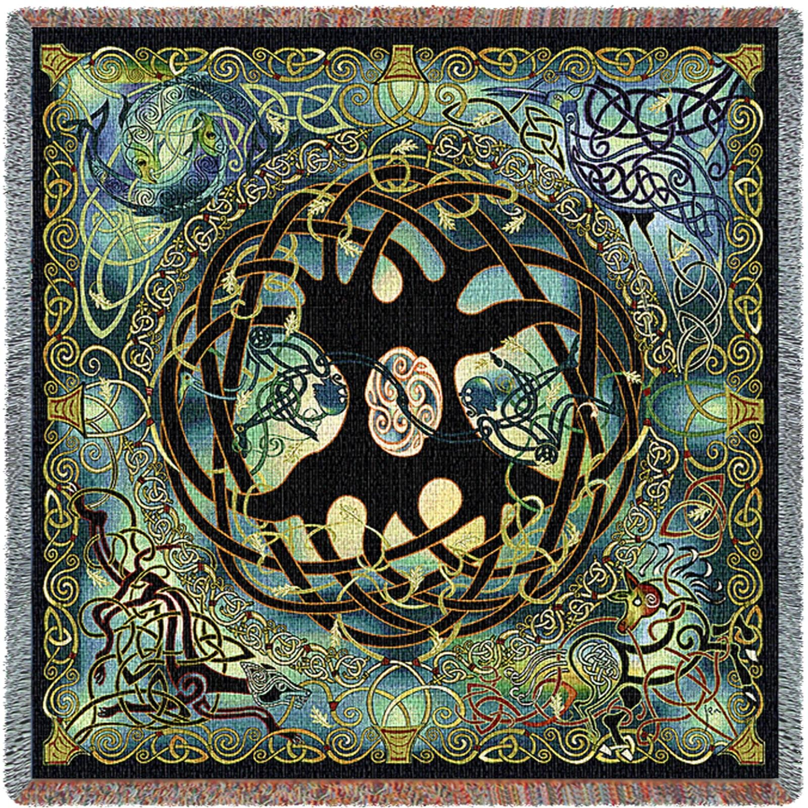 Pure Country Inc. Celtic Tree of Life Blanket Cotton Woven Tapestry Throw with Fringe, 53 x 53, Multicolor