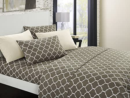 Chic Home Illusion 8 Piece Sheet Set Super Soft Contemporary Geometric Pattern Print Deep Pocket Design - Includes Flat & Fitted Sheets and Bonus Pillowcases Twin Taupe