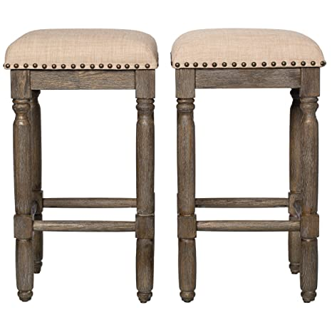 Prime Modhaus Living Modern Rustic Style 26 Inch Wood Backless Counter Stools With Beige Linen Upholstery Cushions With Brown Finish Set Of 2 Includes Pen Cjindustries Chair Design For Home Cjindustriesco