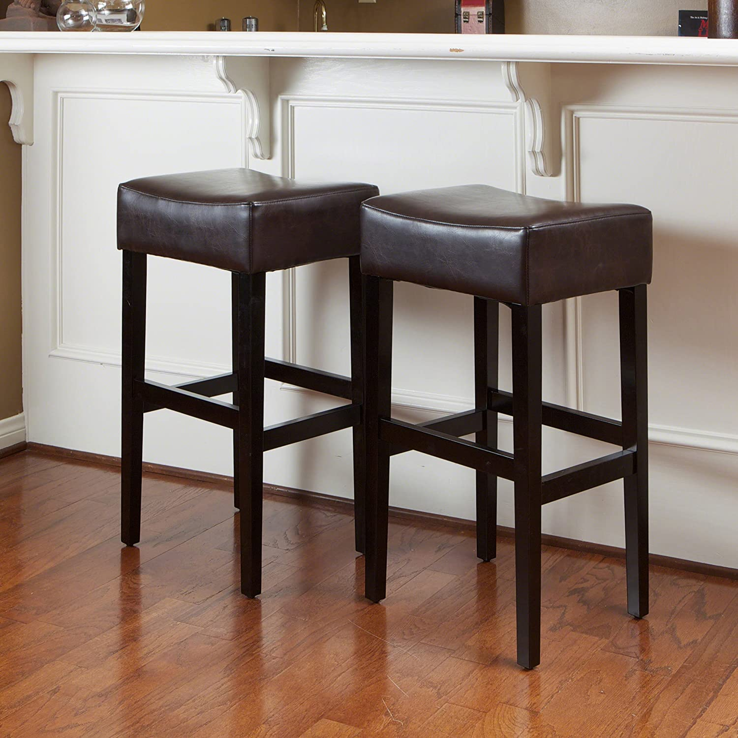 Christopher Knight Home 235134 Lopez Leather Backless Bar Stools (Set of 2), Brown