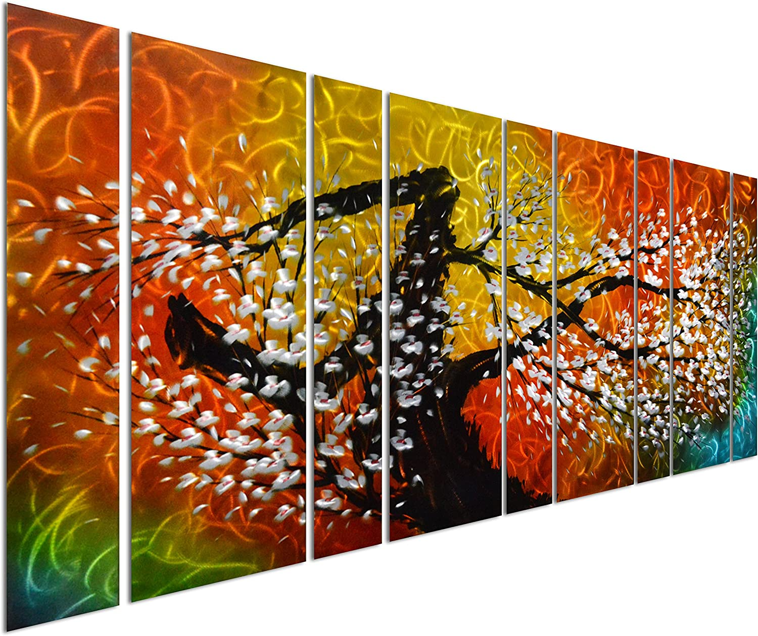"Pure Art Gigantic Tree of Life Metal Wall Art Decor, Oversize Colorful 3D Artwork for Modern, Contemporary and Traditional Decor, 9-Panels Measures 86""x 32"", Great for Indoor and Outdoor"