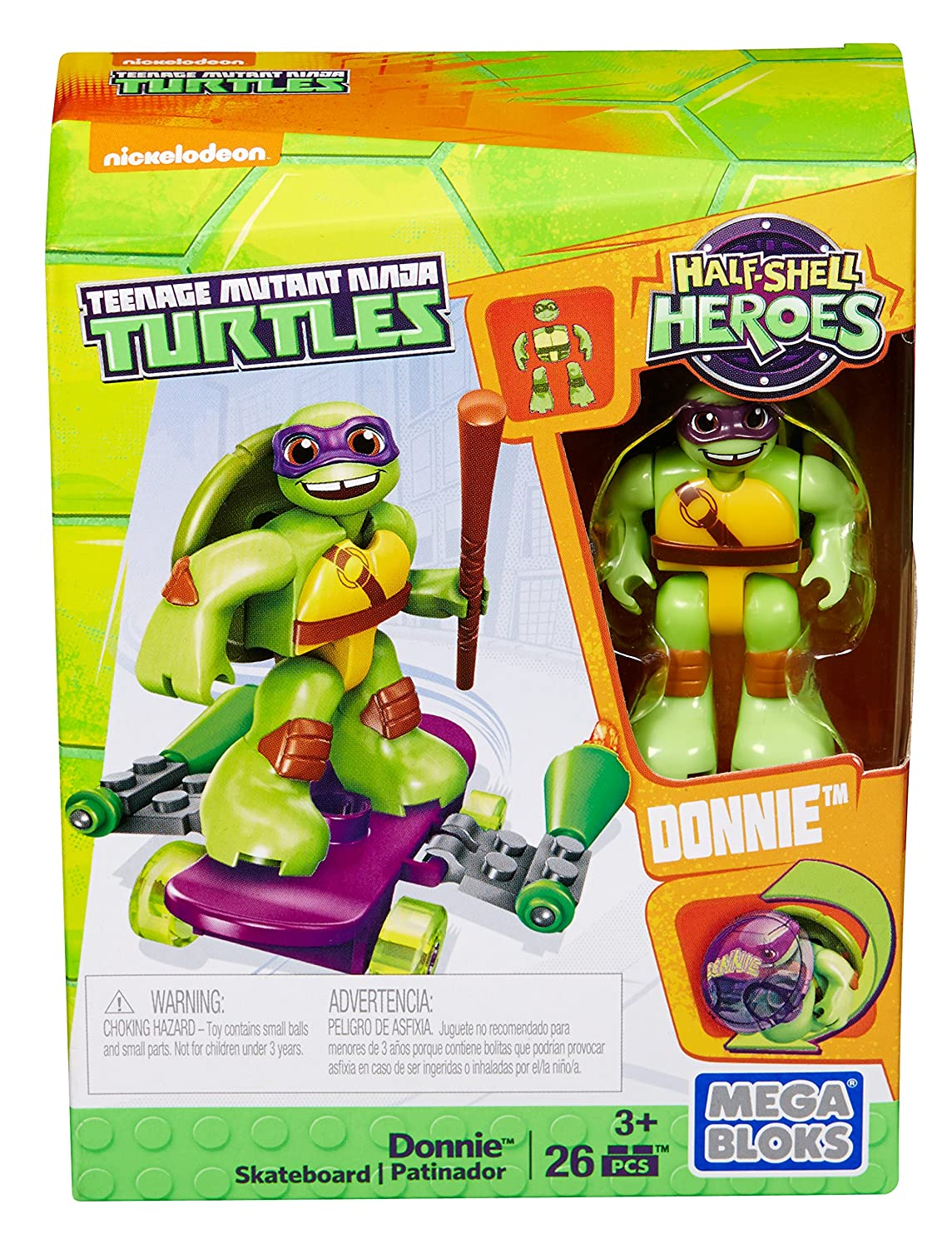 Mega Bloks DMW40 - Figura de Juguete Teenage Mutant Ninja Turtles Donnie con monopatín