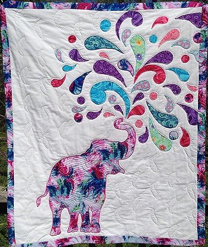 Joyful Elephant Wall Hanging Lap Quilt