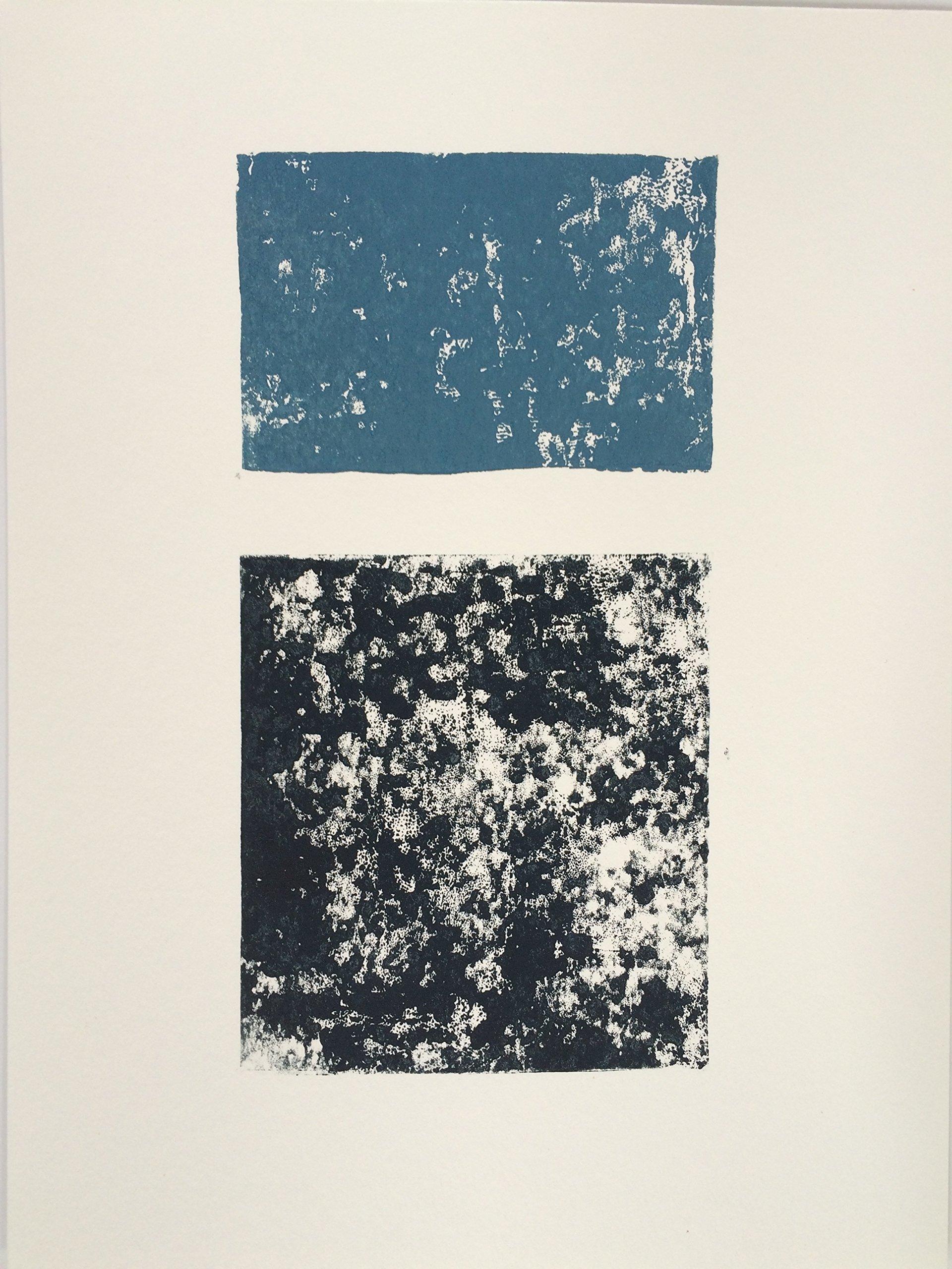 Midnight Blue and Black striking 9x12 block print by