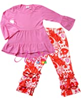 Angeline Boutique Clothing Girls Valentine's Day Ruffles Outfit Set - Various Styles