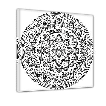 Bilderdepot24 Mandala Iv Ausmalbild Auf Leinwand Aufgespannt Auf Rahmen Quadrat Format 30x30 Cm