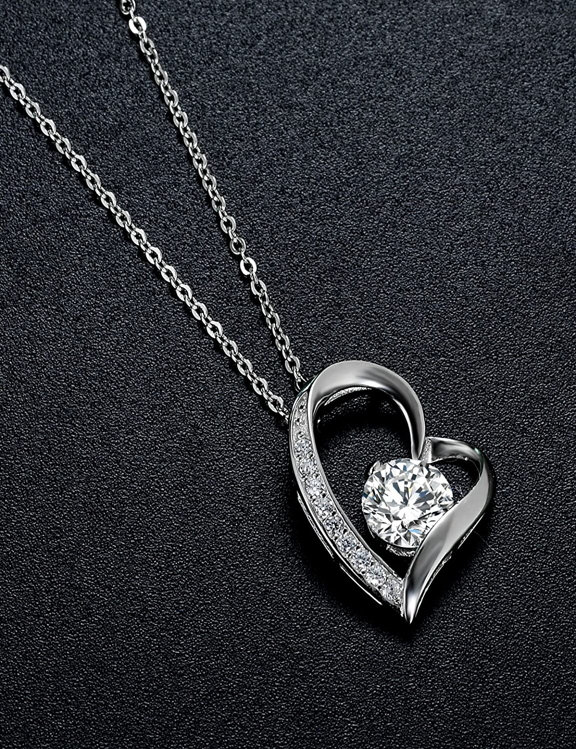 I love U Mom S925 Sterling Silver Heart Pendant Necklace 14K White Gold Plated Jewelry Gifts for Mom