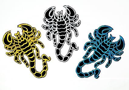 Amazon. Com: nipitshop patches set 3 blue yellow black scorpion diy.