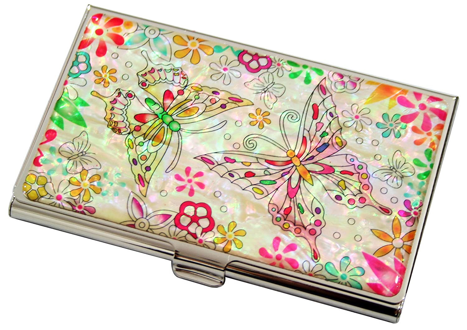 Mother of Pearl Butterfly Flower Design Womens Business Credit Name ID Card Holder Case Metal Stainless Steel Engraved Slim Purse Pocket Cash Money Wallet Antique Alive