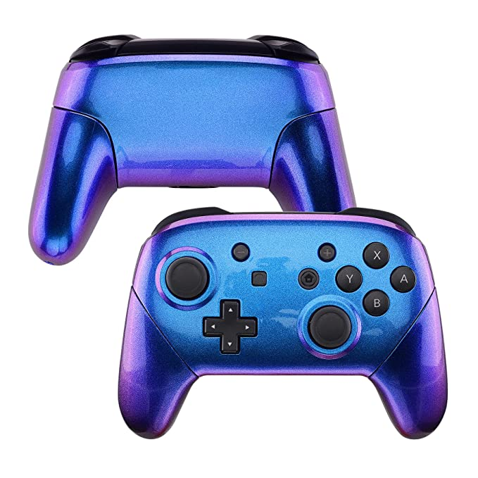 eXtremeRate Chameleon Faceplate Backplate Handles for NS Switch Pro Controller, Purple Blue DIY Replacement Grip Housing Shell Cover for NS Switch Pro ...