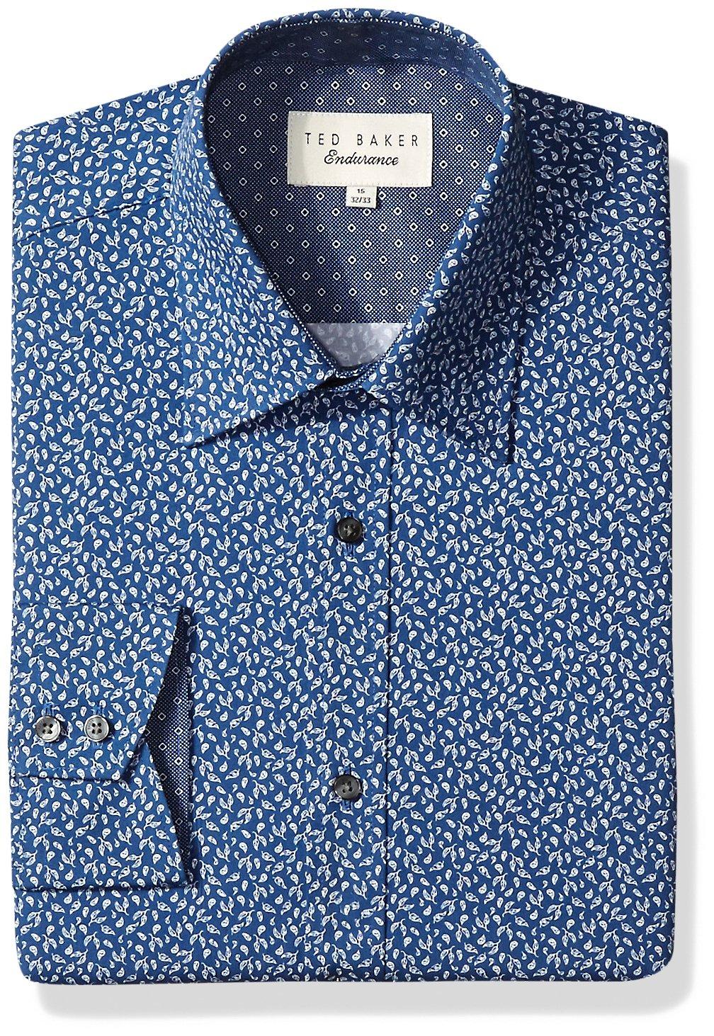 Ted Baker Men's Filmore Dress Shirt, Navy, 15'' Neck 34''-35'' Sleeve