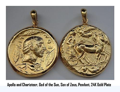 Mitología griega, Percy Jackson collar, Dios griego Apollo & Auriga, moneda colgante,