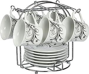 Lorren Home Trends 13-Piece Porcelain Espresso Coffee Cups, Black Damask Design