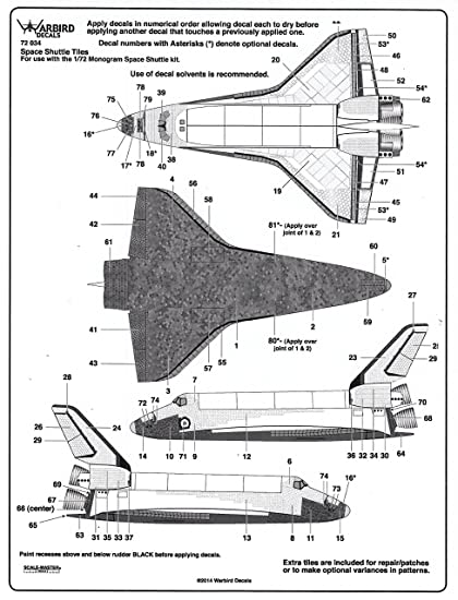 Amazon Wbd72034 172 Warbird Decals Space Shuttle Tiles For