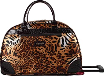 Kathy Van Zeeland Womens 22 Inch Printed Rolling Carry-On (One Size, Brown