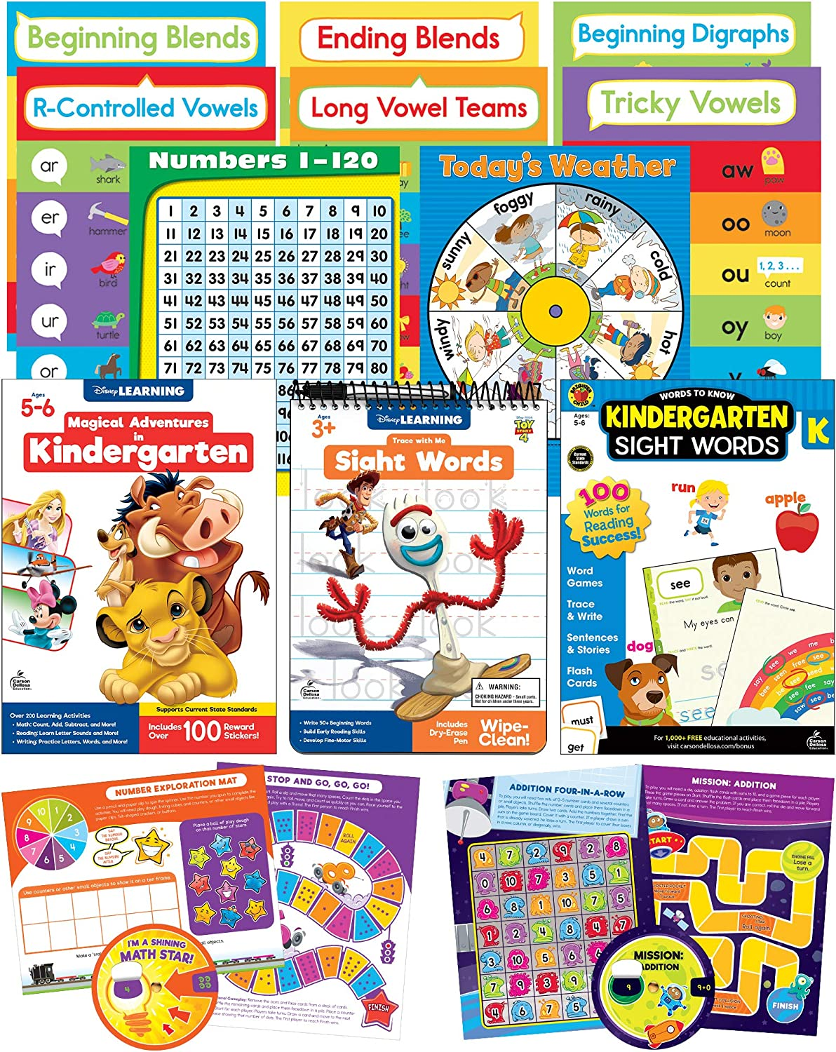 Carson Dellosa (CAS0P) Kindergarten Homeschool Kit for Kids – Early Learning Math, Sight Words, Number Activities for Learn at Home, Kindergarten Readiness (8pc) (145190)