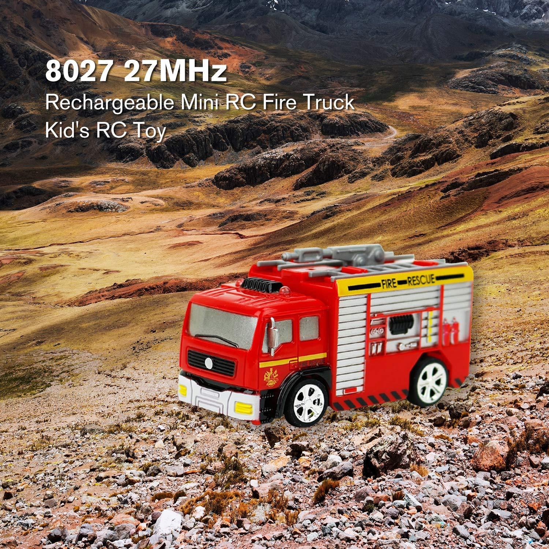 27MHz RC Tank Truck Rechargeable Mini Remote Control Fire Truck Children Toy Fo Kinderfahrzeuge