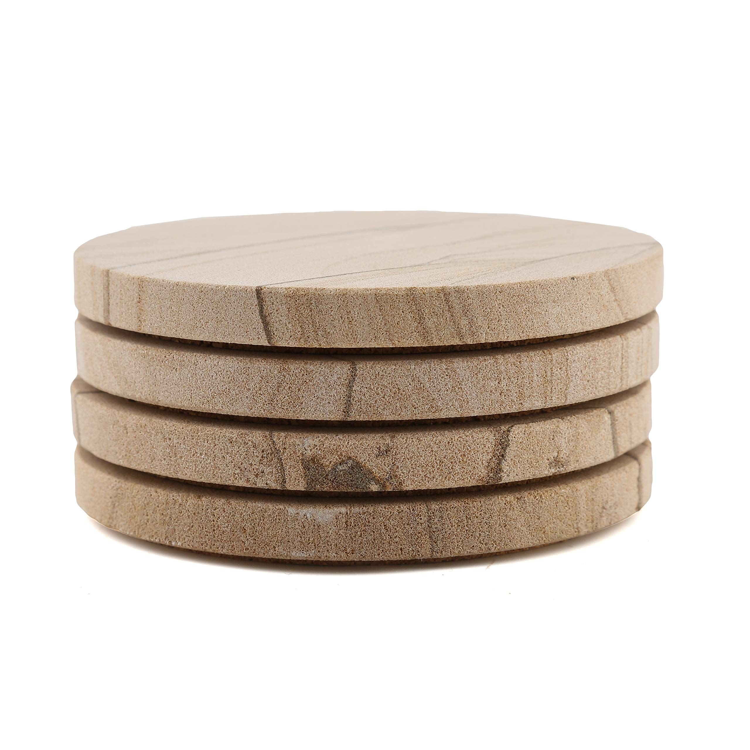 Thirstystone Sandstone Wood Absorbent Coaster and Holder, 4 inch round, Desert Sand w by Thirstystone