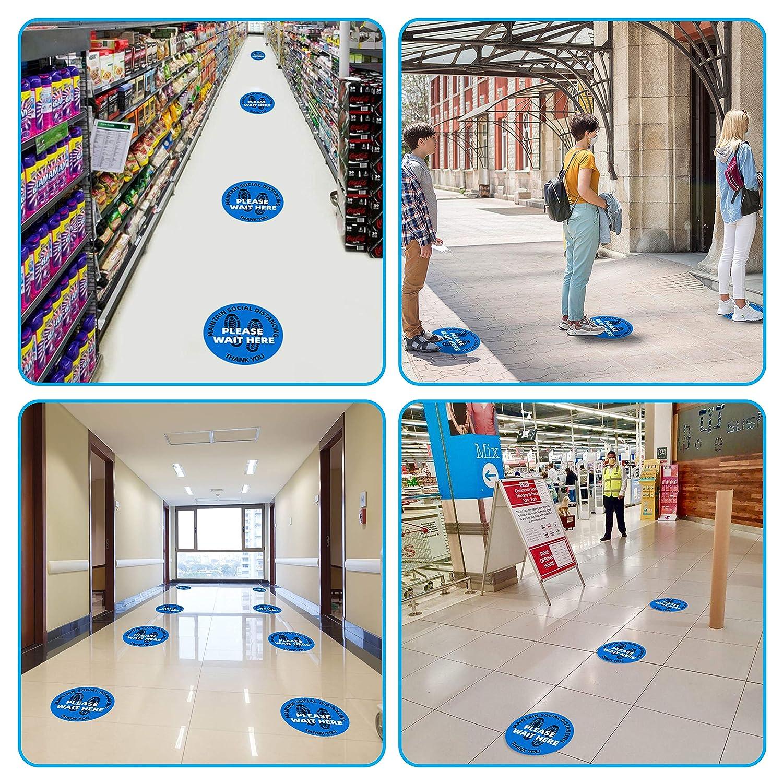 Round 3M Adhesive Non-Slip PVC Vinyl Floor Stickers Bulk Quantity Complete Thrive 12 Inch Social Distancing Floor Decals 6 Feet Distance Floor Sign 10