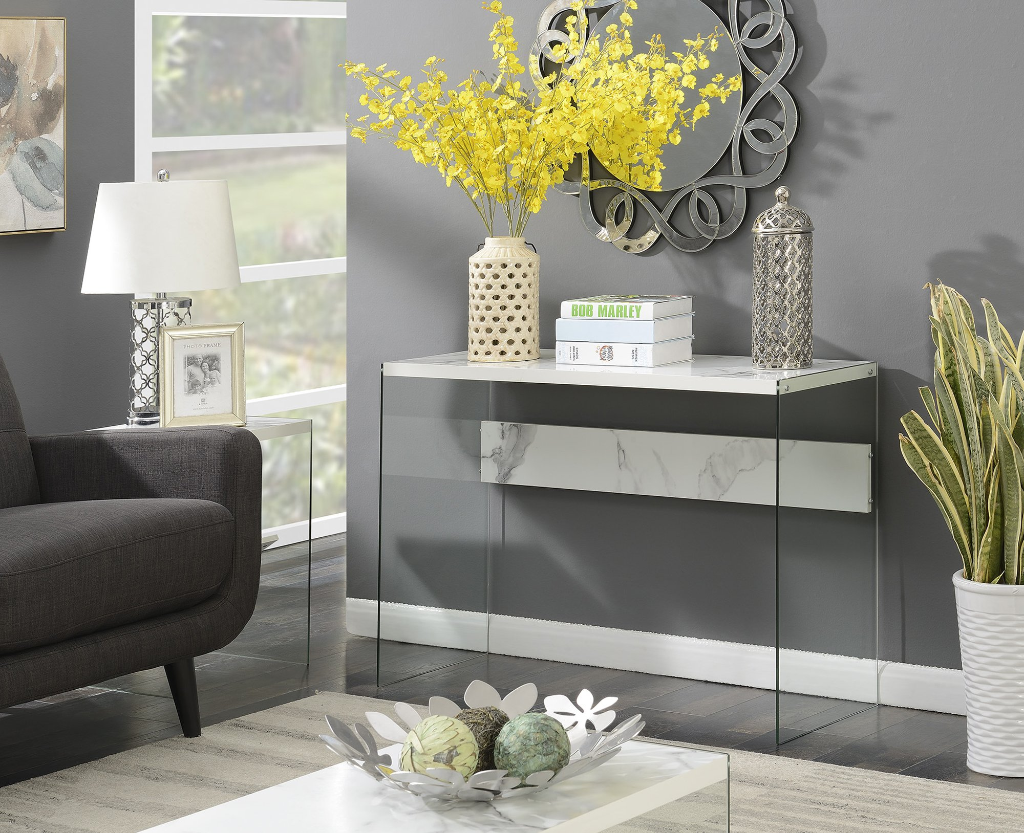 Convenience Concepts 131562WM Soho Console Table Faux White Marble