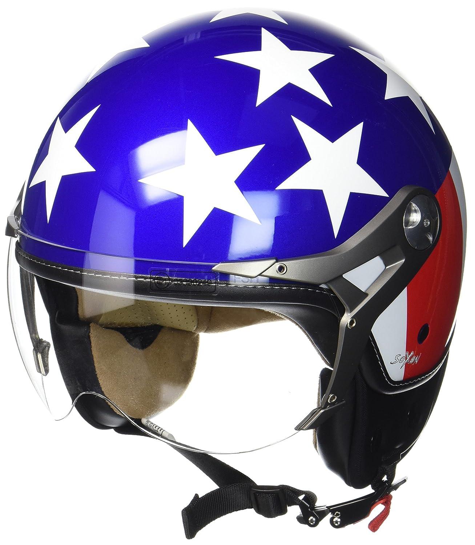 55- SOXON SP-325 Couleur /· Bobber Biker Demi-Jet Moto Chopper Pilot Casque Jet Retro Helmet Vintage Vespa Scooter Cruiser Mofa /· ECE certifi/és /· visi/ère inclus /· y compris le sac de casque /· Blanc /·S