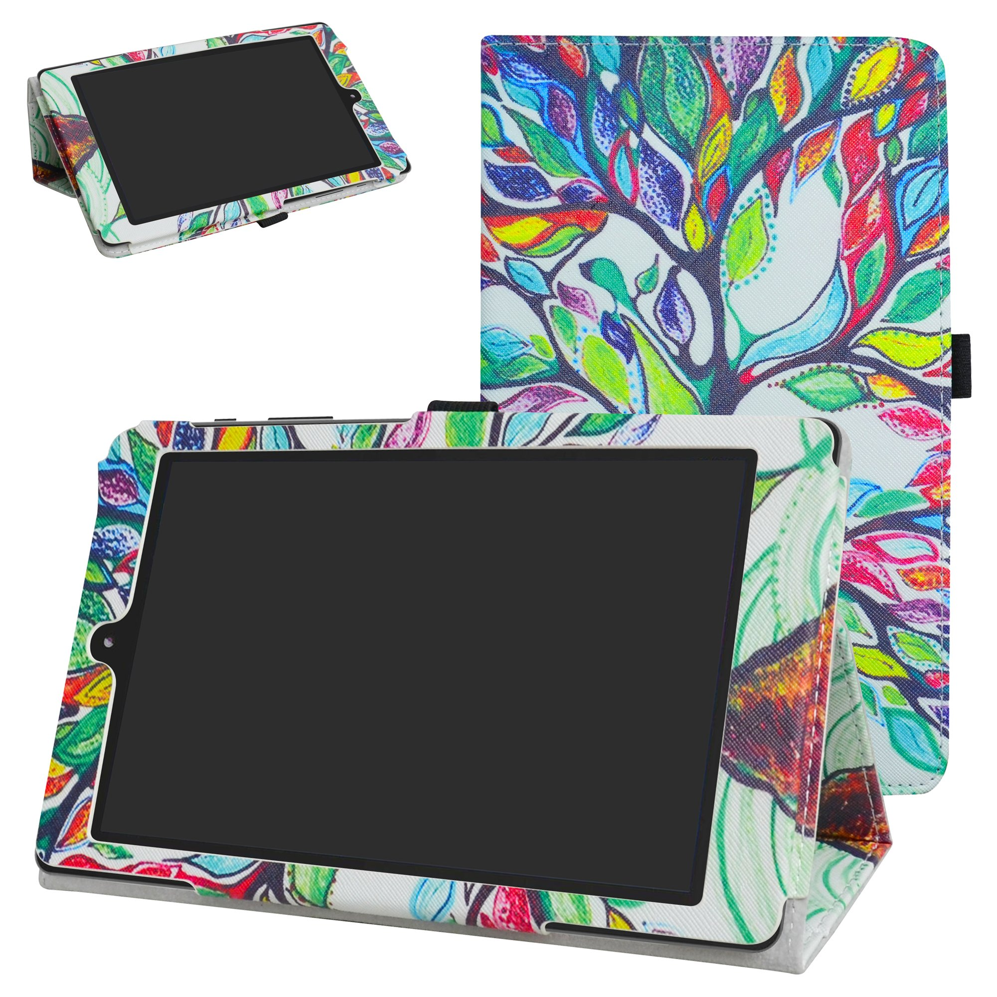 DigiLand DL8006 Case,Mama Mouth PU Leather Folio 2-folding Stand Cover for 8.0'' DigiLand DL8006 Android Tablet,Love Tree
