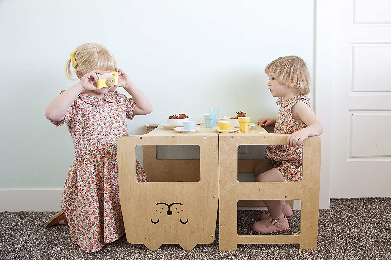 Craffox kitchen helper stool//RABBIT natural//Kitchen tower for toddlers//Convertible stool with blackboard