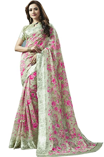 3627fb96b74fa6 Shangrila Designer Women s Digital Printed Linen Cotton Saree with  Unstitched Blouse (KNCHCTN11-4411