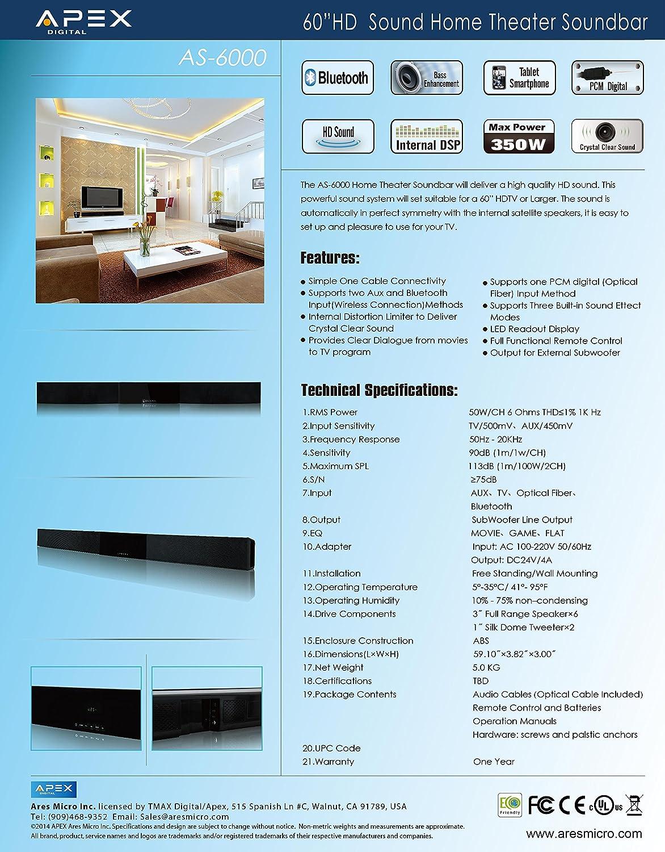 Amazon.com: Apex Digital ASB 6000 HD Digital Home Theater Sound Bar ...