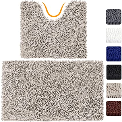 VDOMUS Microfiber Bathroom Contour Rugs Combo, Set Of 2 Soft Shaggy Bath  Shower Mat And