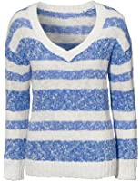Ladies Striped Cotton V neck Jumpers for Women in UK Sizes 6 - 18